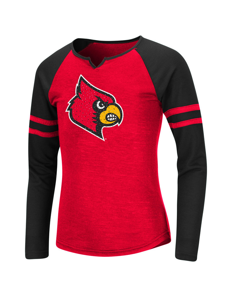 Colosseum Athletics TEE, YOUTH, GIRLS, LS, ANDY, RED/BLK, UL