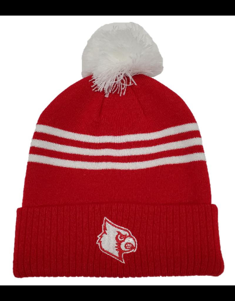 Adidas Sports Licensed HAT, ADIDAS, KNIT, 3-STRIPE CUFFED, RED, UL