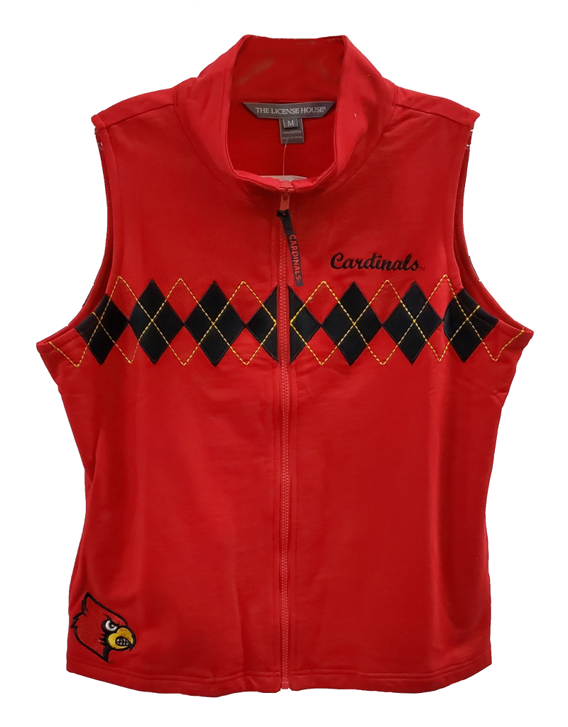 VEST, LADIES, ARGLYE, RED, UL-C