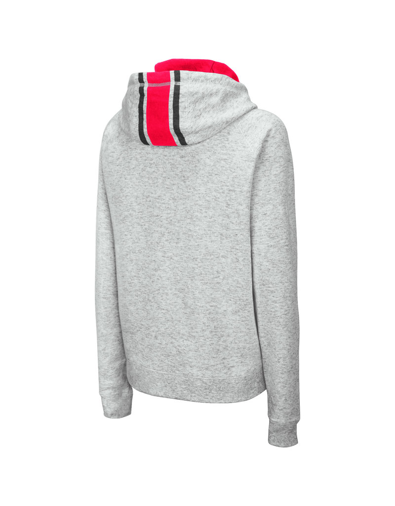 Colosseum Athletics HOODY, LADIES, FUNNEL NECK, GRY/RED, UL