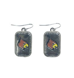 EARRINGS, CARDINAL HEAD, SQUARE, UL