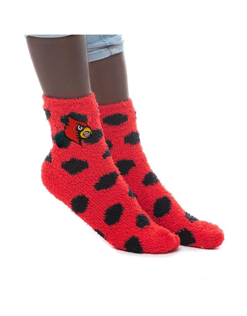 SOCKS, FUZZY DOT, RED/BLACK, UL
