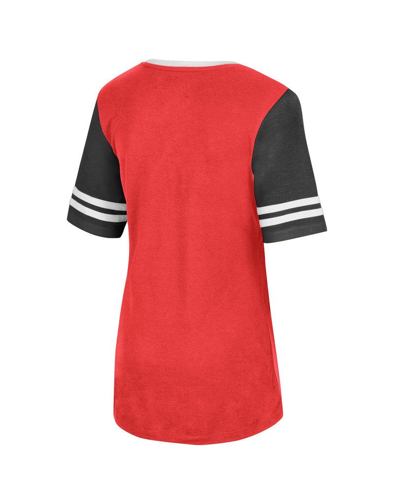 Colosseum Athletics TEE, LADIES, SS, KICKFLIP, RED/BLK, UL