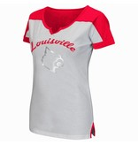 Colosseum Athletics TEE, LADIES, SS, V-NOTCH, GET SPIRITED, WHITE/RED, UL