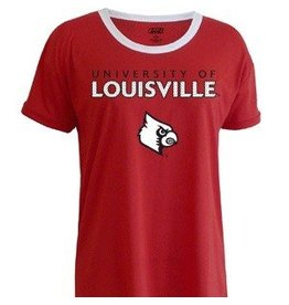E5 College Classics TEE, LADIES, SS, GLITTER PRINT, RED, UL