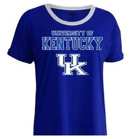 E5 College Classics TEE, LADIES, SS, GLITTER PRINT, ROYAL, UK