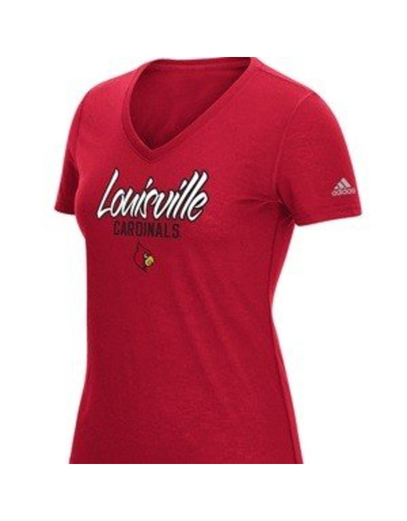Adidas Sports Licensed TEE, LADIES, SS, ADIDAS, V-NECK TRAINING, RED, UL