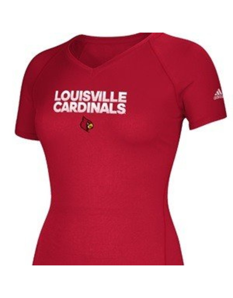 1439442a738c13 TEE, LADIES, SS, RED, HUSTLE, UL - JD Becker's UK & UofL Superstore