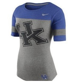 Nike Team Sports TEE, LADIES, SS, NIKE, CHAMP FAN, GRAY/ROYAL, UK