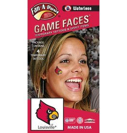 Fan A Peel FACE TATTOOS, CARDINAL, 4 PIECE, UL
