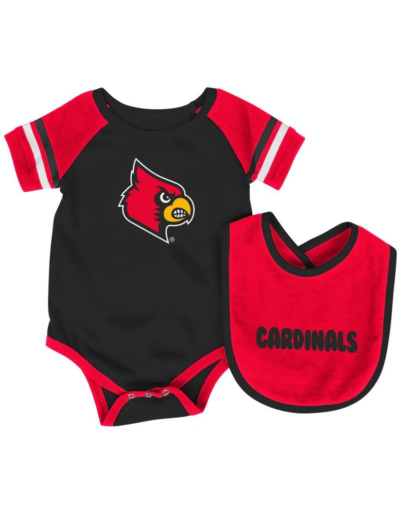 Colosseum Athletics ONESIE, INFANT, W/BIB, ROLL-OUT, RED/BLACK, UL