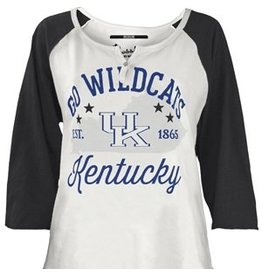 Pressbox TEE, LADIES, LS, GO WILDCATS, WHITE/ROYAL, UK