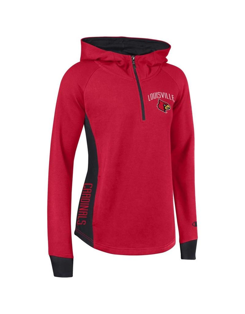 Champion Products HOODY, LADIES, 1/4 ZIP, HERITAGE, RED/BLK, UL