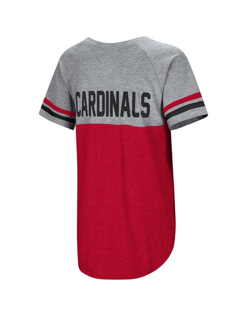 Colosseum Athletics TEE, LADIES, SS, SOUTHBEND OVERSIZED, RED/GRAY, UL