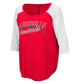 Colosseum Athletics TEE, LADIES, 3/4 SLEEVE, DRAW A CROWD, RED/WHITE, UL-C