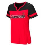 Colosseum Athletics TEE, LADIES, SS, V-NOTCH, COACH, RED/BLACK, UL