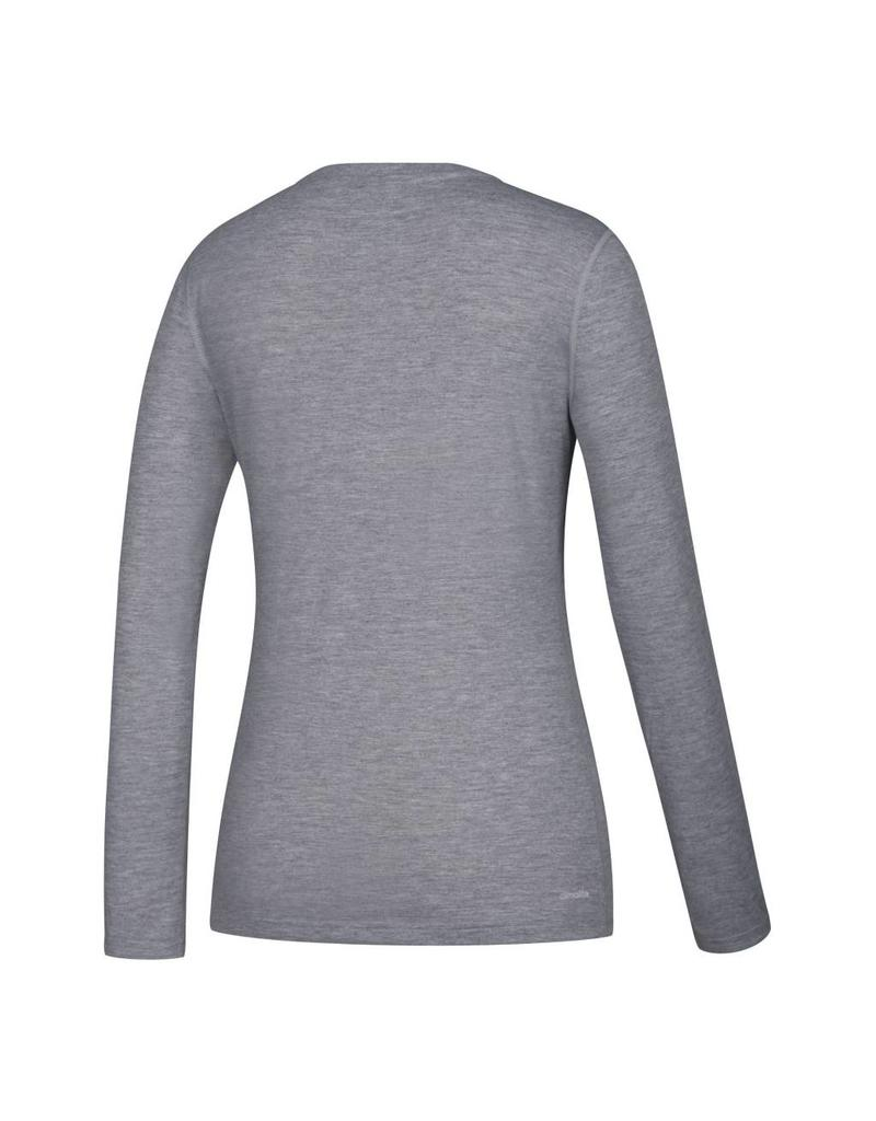 Adidas Sports Licensed TEE, LADIES, LS, ADIDAS, RACER LOGO, GRAY, UL