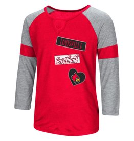 Colosseum Athletics TEE, YOUTH, GIRLS, 3/4 SLEEVE, ALL YOU NEED, RED/GRY, UL