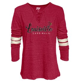 BLUE 84 TEE, LADIES, LS, LYDIA LACE UP, RED, UL