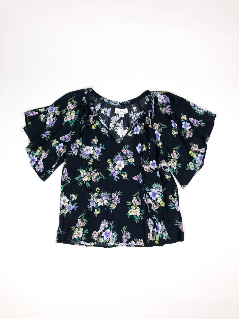 Velvet by Graham & Spencer Delmis SS Floral Drape Top