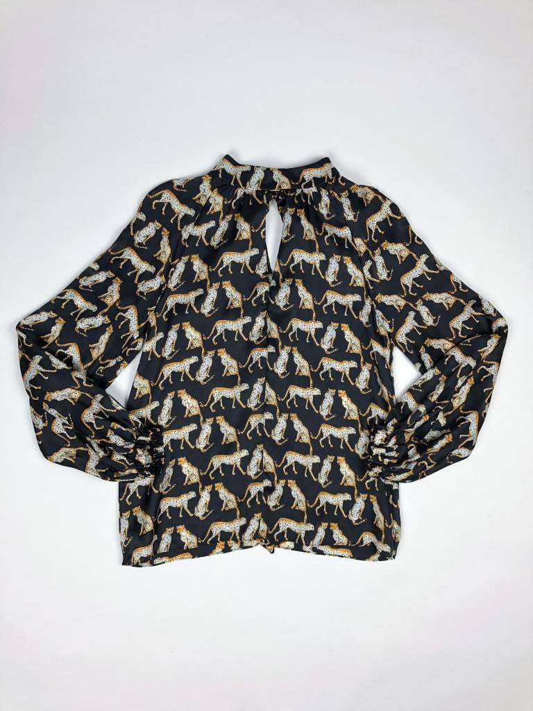 MILLY Emmie Cheetah Back Tie Neck Top