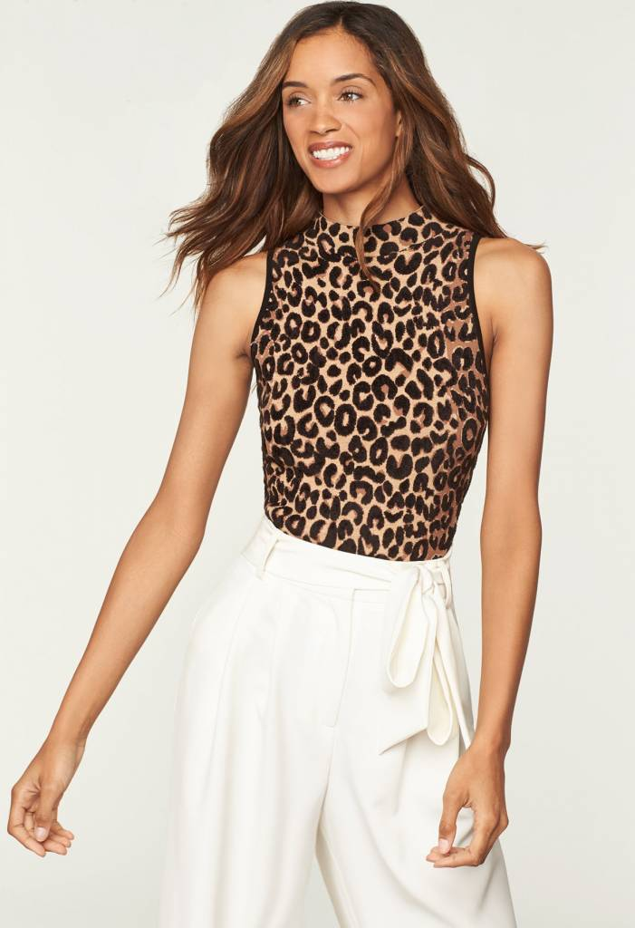 MILLY SL Textured Cheetah Knit Shell
