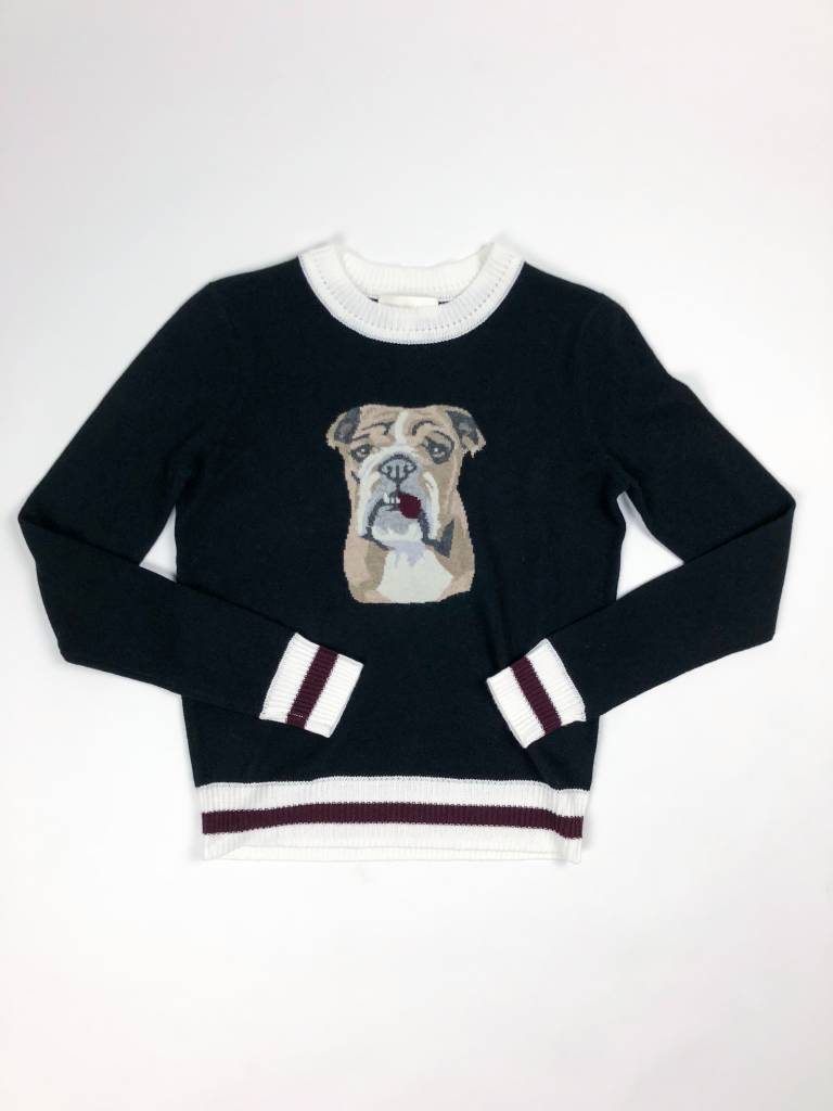 Lisa Todd Nino Bulldog Sweater w/ Stripe Trim
