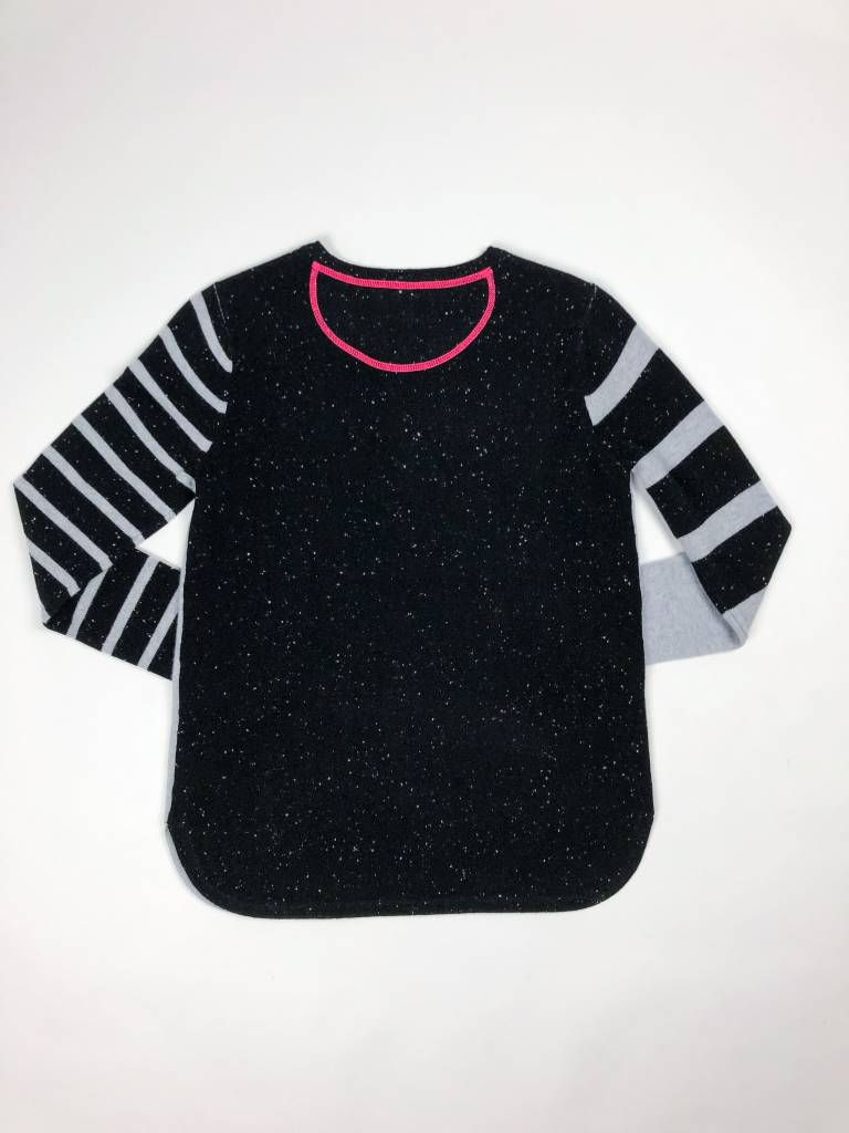 Lisa Todd Pop Stripe Sweater w/ Pink Stripes on End of Sleeve