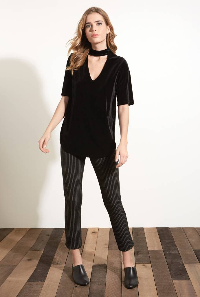 Fifteen Twenty Velvet Mock Neck Top