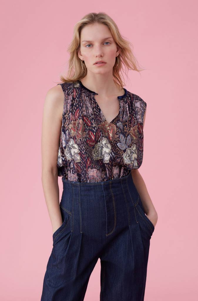Rebecca Taylor SL Rose Clip Top with Front Top Button