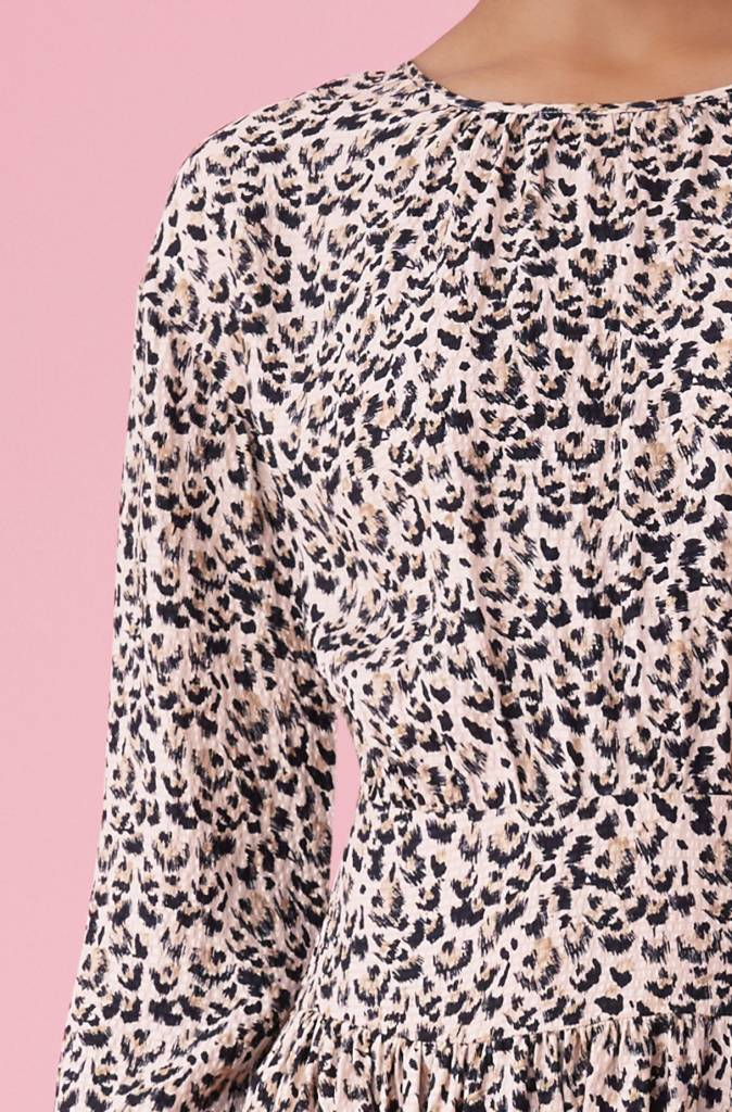Rebecca Taylor LS Leopard Dress with Buttons on Back
