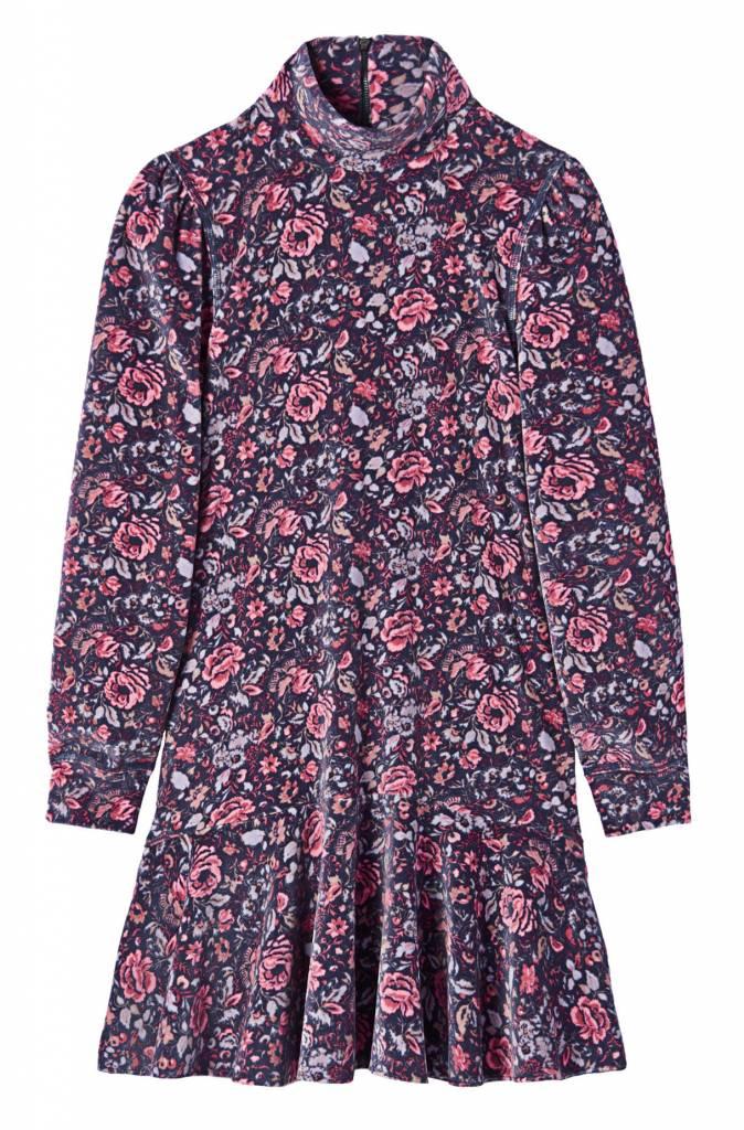 La Vie Rebecca Taylor LS Toile Velour Floral Turtleneck Dress