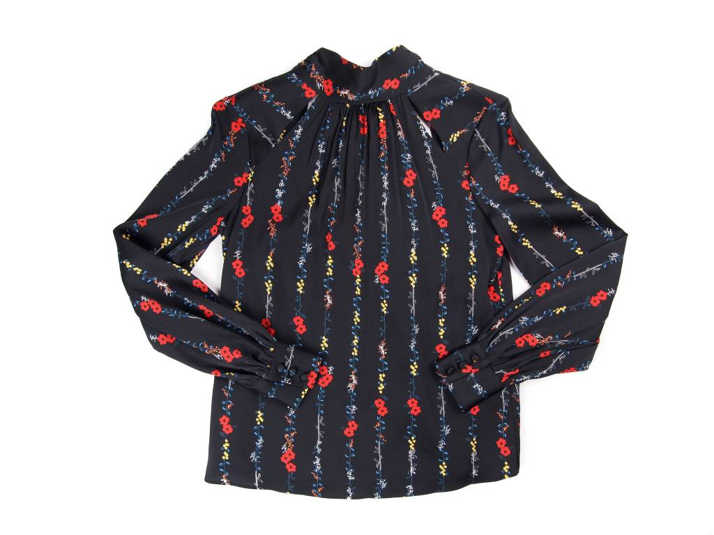 MILLY Simona Tie Back Floral Blouse