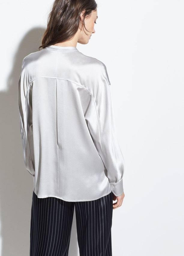 Vince Single Pocket SIlk Blouse