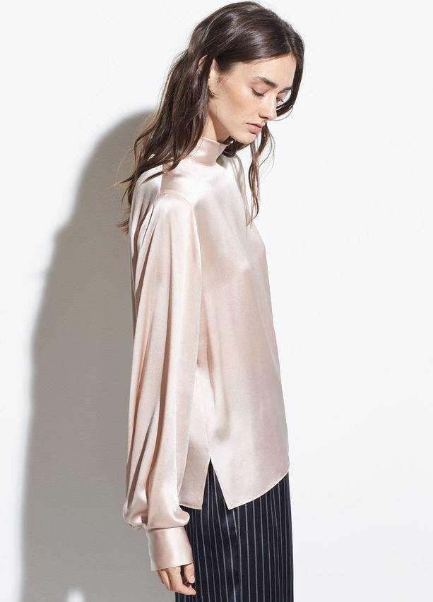 Vince Turtleneck Silk Blouse