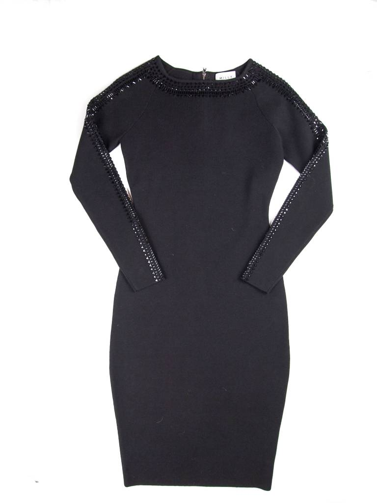 MILLY LS Embellished Gem Fitted Dress
