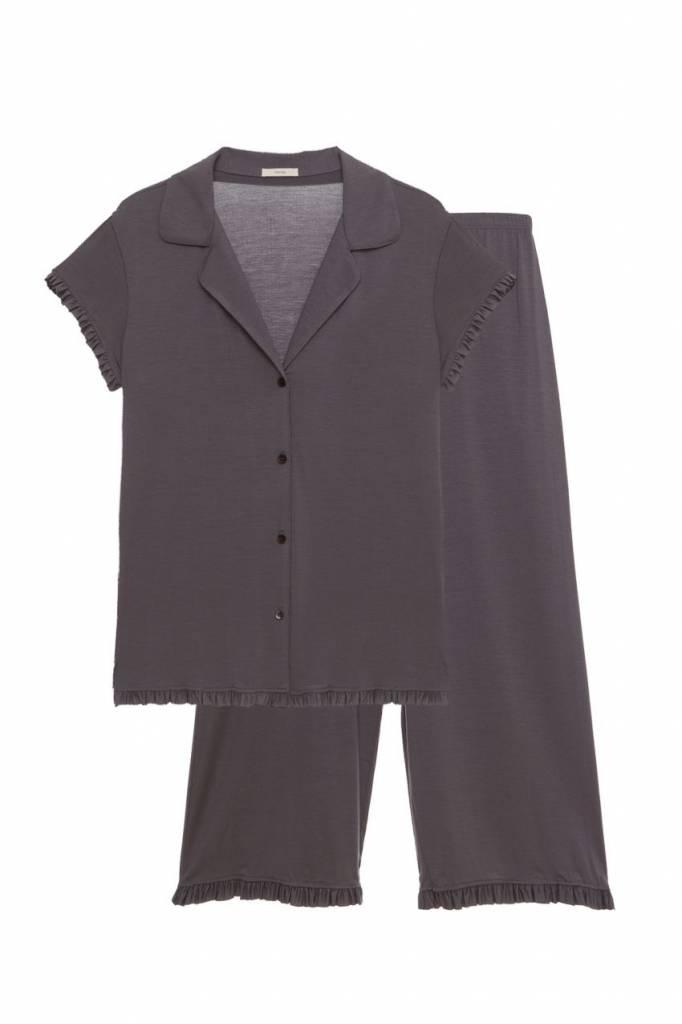 Eberjey Ruthie The Short Sleeve Cropped Ruffle PJ Set