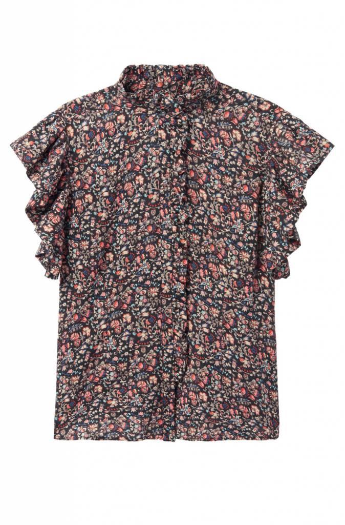 La Vie Rebecca Taylor Ruffle Sleeve Gitane Floral Top