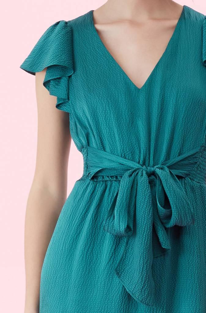 Rebecca Taylor SL Hammered Silk VNeck Tie Front Dress