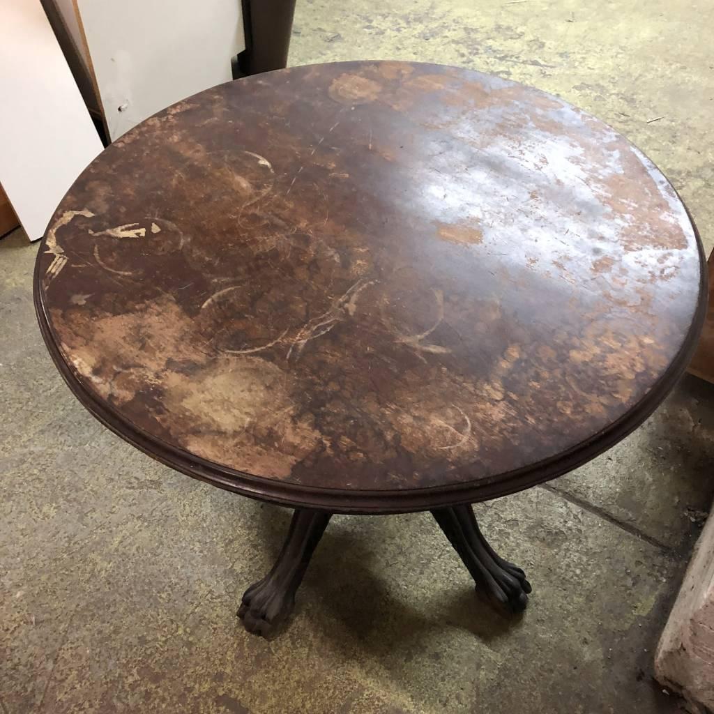 Vintage Clawfoot Dark Oak Table #RED