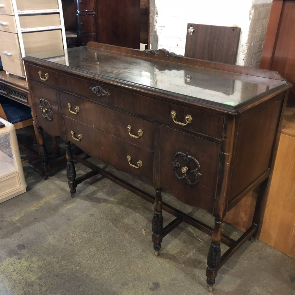 Antique Credenza with Brass Hardware #GRE - Antique Credenza With Brass Hardware #GRE - Big Reuse