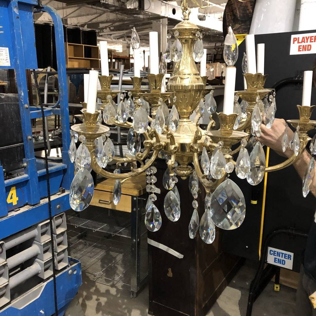 Antique Brass & Crystal Chandelier #BLU