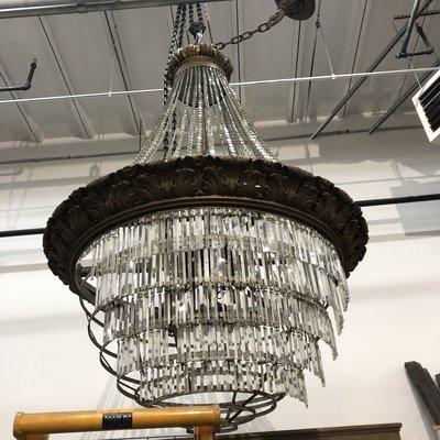 XL Vintage Crystal Chandelier