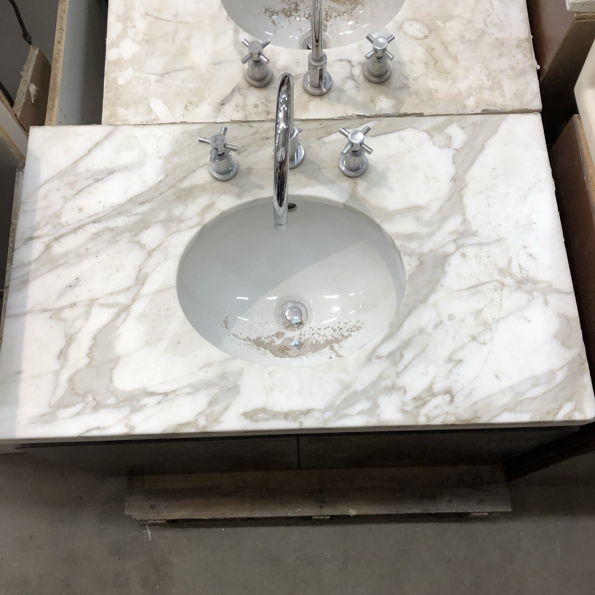 Marble Vanity Top with Chrome Faucet