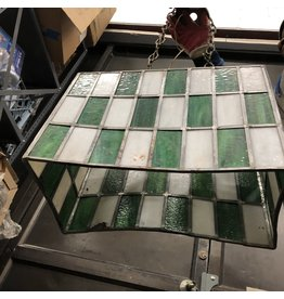 Vintage Stained and Leaded Glass Hang Lamp