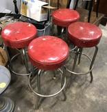 Vintage Red Top Bar Stools