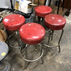 Vintage Red Top Bar Stools