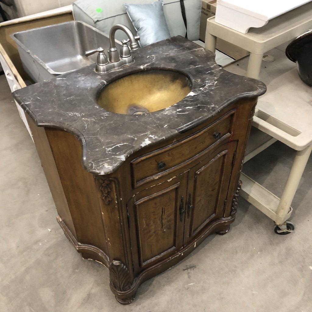 Vintage Brass Sink Vanity