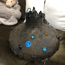 Antique Tin Chandelier With Gem Stones #BLU