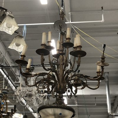 Antique Brass Chandelier with Candle Fixtures